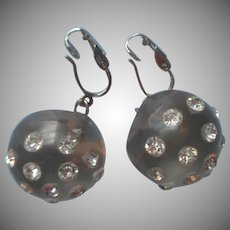 1960s Earrings Clip Big Lucite Gray Balls Rhinestones Vintage Faux Pierced