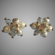 Vendome Pearl Rhinestone Crystal Cluster Vintage Earrings Clip