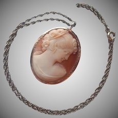 Gold Filled Shell Cameo Pin Pendant Vintage Chain Necklace Van Dell