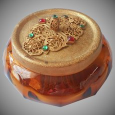 1920s Vanity Jar Filigree Jeweled Lid Vintage Amber Glass