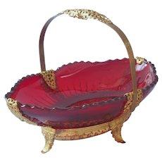 1930s Filigree Glass New Martinsville Red Radiance Basket Vintage