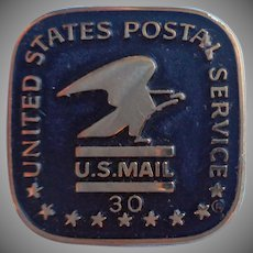 Post Office Vintage 30 Year Service Pin Gold Filled