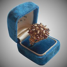 Vintage Florenza Ring Faux Topaz Faux Seed Pearls Adjustable