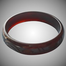 Bakelite Bangle Bracelet Brown Carved Vintage