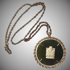 ca 1970 Big Jade Pendant Necklace Vintage