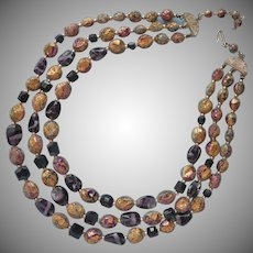 1950s Purple Art Glass Beads Necklace Sugared Three Strand