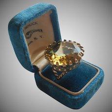 Huge Vintage Brass Glass Ring Vintage Western Germany