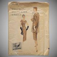 1955 Vogue Couturier Sewing Pattern 866 Vintage Dress Coat Slip 32 Bust