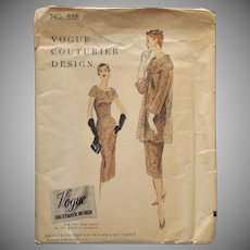 1955 Vogue Couturier Sewing Pattern 866 Vintage Dress Coat Slip 32 Bust