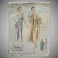 1952 Vogue Couturier Sewing Pattern 720 Vintage Dress Coat 34 Bust