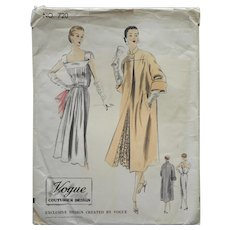 1952 Vogue Couturier Sewing Pattern 720 Vintage Dress Coat 34 Bust