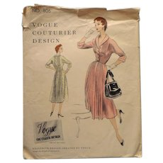 1954 Vogue Couturier Sewing Pattern 806 Vintage Dress 32 Bust 35 Hip