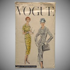 1956 Vogue Sewing Pattern 8825 Vintage Fitted Skirt Suit 34 Bust 37 Hip