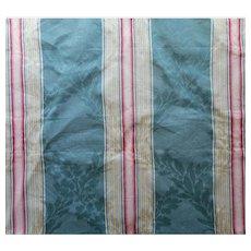 Vintage Fabric Sample Italian Moire Damask Stripe Upholstery