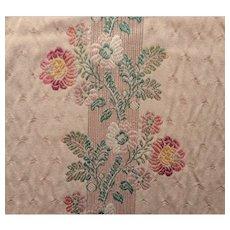 Vintage Fabric Sample Brunschwig Brocade Floral Stripe Upholstery