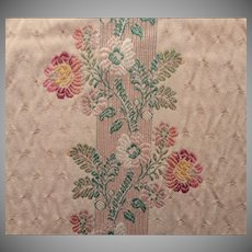 Vintage Fabric Sample Brunschwig Brocade Floral Stripe Upholstery