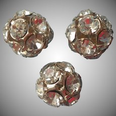 Vintage Rhinestone Ball Buttons Dress Ornaments Beads