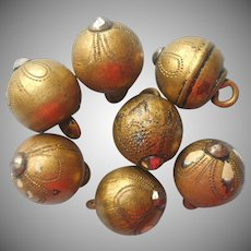 Victorian Buttons 7 Antique Brass Balls Cut Steel Tipped