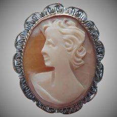 Vintage Cameo Carved Shell Italian Tinsel Embellished Frame