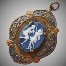 1920s Pendant Brass Porcelain Blue Vintage TLC Needed