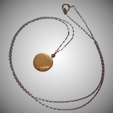 Tiny Locket Antique Gold Filled On Chain Necklace