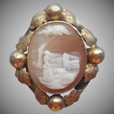 Tiny Antique Cameo Pin Rebecca At The Well Carved Shell