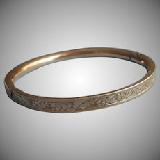 Baby Bangle Bracelet Hinged Gold Filled Vintage Prettily Engraved