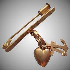 18K Gold Pin Faith Hope Love Charm Vintage European Corinthians 13