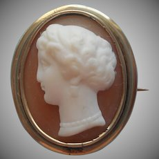 Antique Cameo Shell Gold Filled Classical Greco Roman Female Profile