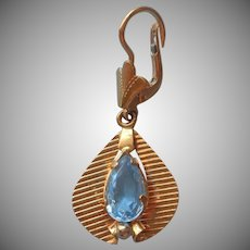 14K Gold Single Earring Vintage Pierced Dangle Drop Blue Stone