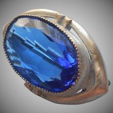 1920s Art Deco Little Pin Bright Blue Glass Vintage