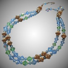 Crystal Necklace Vintage Blue Green AB Gold Tone 2 Strand
