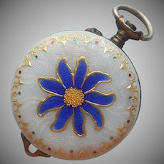Enamel Ladies Watch Antique Edelweiss Guilloche 800 Silver TLC
