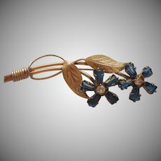 Gold Filled Pin Blue Glass Stones Flowers Vintage