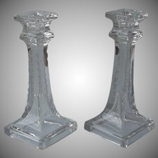ca 1905 to 1920 Cut Glass Candlesticks Antique Simple Handsome