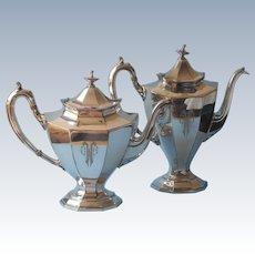 ca 1920 Coffe Pot Teapot Reed Barton Silver Plated Monogram C.H.W.