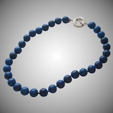 Lapis Beads Necklace 12 mm 17.5 inches Long Choker