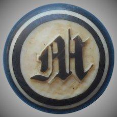 Monogram M Antique Collar Button Carved Dyed Bone