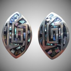 Vintage Mexico Abalone Inlay Big Clip Earrings Alpaca Silver