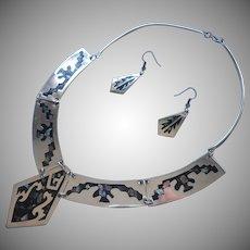 Vintage Abalone Inlay Mexico Collar Necklace Earrings Set Alpaca Silver
