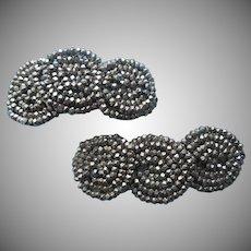 1910s Shoe Clips Cut Steel Beads Antique