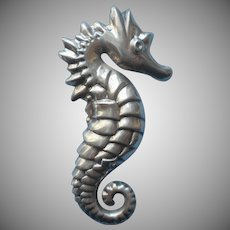Sterling Seahorse Pin Vintage Sterling Stamped Sea Horse