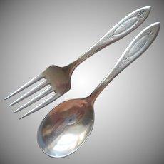 Monobram C Baby Toddler Fork Spoon Adam 1917 Antique Silver Plated