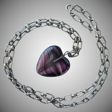 Vintage Purple Glass Heart Pendant Sterling Silver Chain Necklace