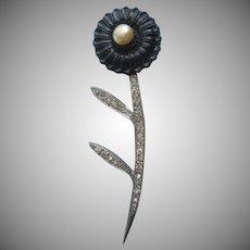 1930s Art Deco Pin Vintage Black Glass Flower Rhinestone