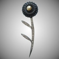 1930s Art Deco Pin Vintage Black Glass Flower Rhinestone