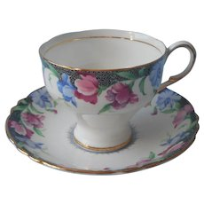 Paragon Sweet Pea Cup Saucer Corset Vintage English Bone China