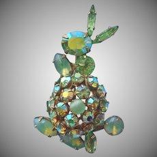 Signed Schreiner Bunny Rabbit Trembler Tail Vintage Pin Green Stones