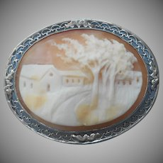 Trees Blowing In Wind Cameo Pin Vintage Italy Shell Scenic