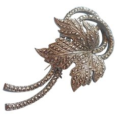 Marcasite Sterling Silver Vintage Pin Leaf Swirling Stems